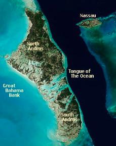 Map of Andros Island, Bahamas